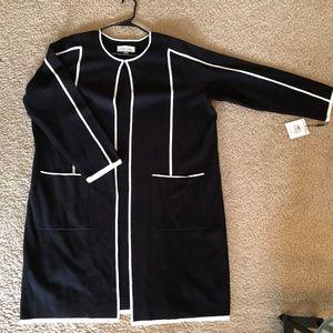 NWT Calvin Klein Black Knit Sweater w/ White trim